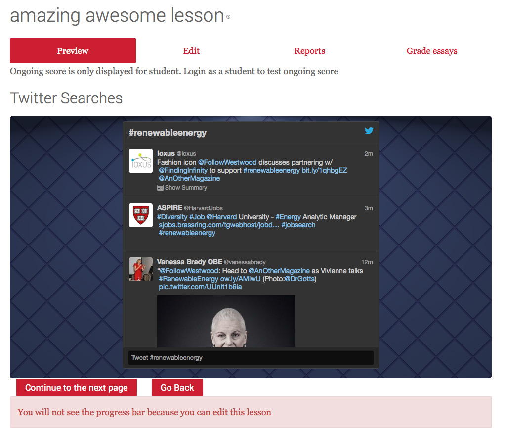 Twitter embedded in Moodle Lesson